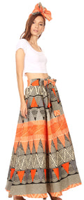 Sakkas Ami Women's Maxi Long African Ankara Print Skirt Pockets & Elastic Waist#color_158-Multi