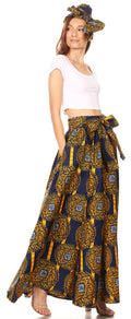 Sakkas Ami Women's Maxi Long African Ankara Print Skirt Pockets & Elastic Waist#color_160-Multi