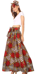 Sakkas Ami Women's Maxi Long African Ankara Print Skirt Pockets & Elastic Waist#color_161-Multi
