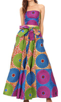 Sakkas Ami Women's Maxi Long African Ankara Print Skirt Pockets & Elastic Waist#color_162-Multi