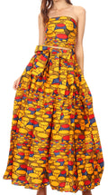 Sakkas Ami Women's Maxi Long African Ankara Print Skirt Pockets & Elastic Waist#color_163-Multi