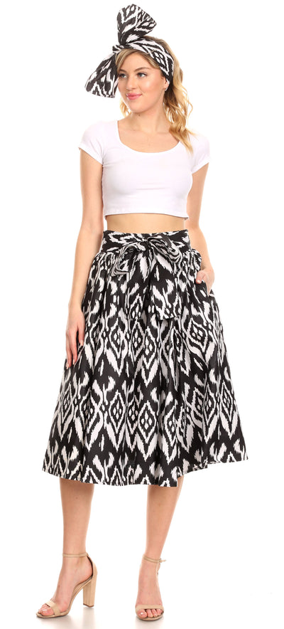 group-111-Black/white (Sakkas Ama Women's Vintage Circle African Ankara Print Midi Skirt with Pockets)