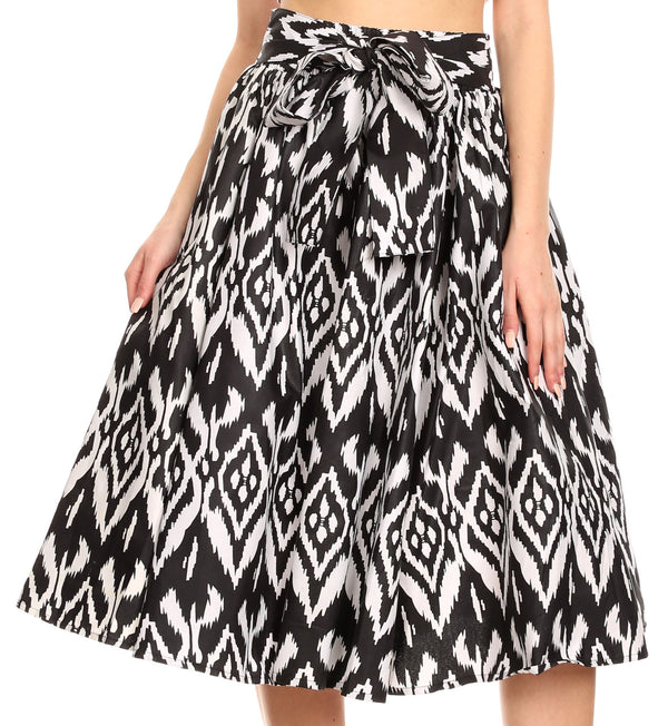 Sakkas Ama Women's Vintage Circle African Ankara Print Midi Skirt with Pockets#color_111-Black/white