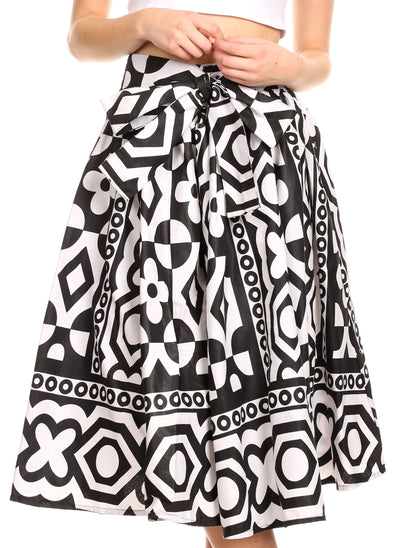 group-112-BlackWhiteMulti (Sakkas Ama Women's Vintage Circle African Ankara Print Midi Skirt with Pockets)