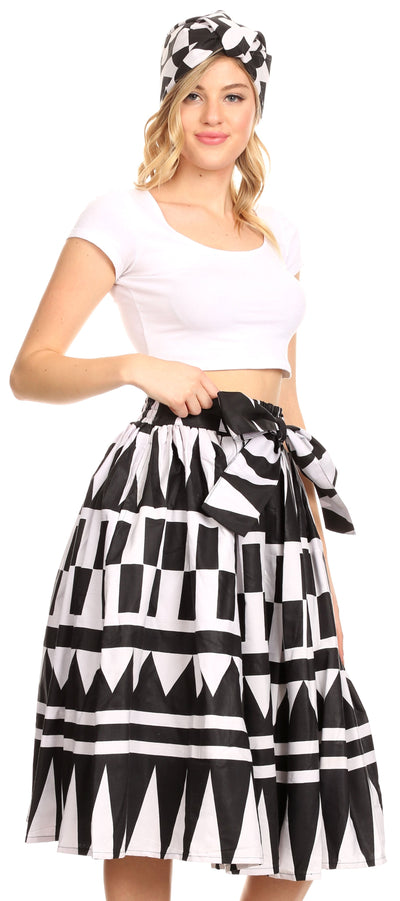 group-113-blackwhite (Sakkas Ama Women's Vintage Circle African Ankara Print Midi Skirt with Pockets)