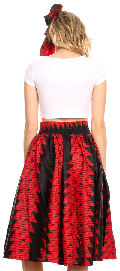 group-114-RedBlack (Sakkas Ama Women's Vintage Circle African Ankara Print Midi Skirt with Pockets)