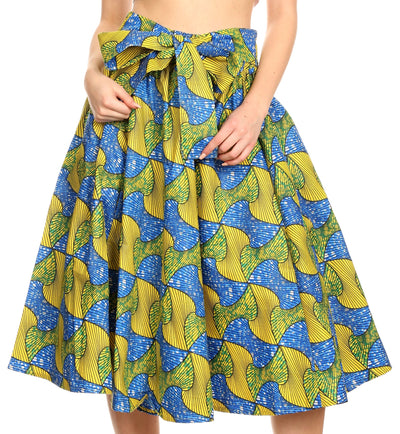 group-115-BlueYellowMulti (Sakkas Ama Women's Vintage Circle African Ankara Print Midi Skirt with Pockets)