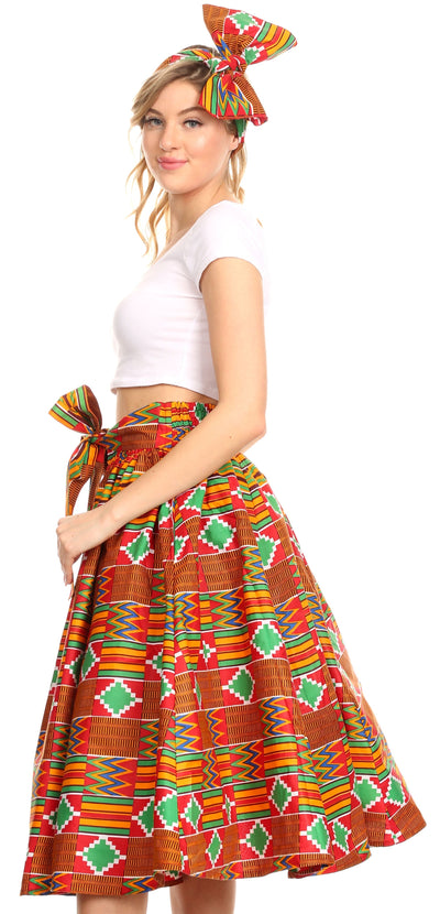 group-116-RedAztec (Sakkas Ama Women's Vintage Circle African Ankara Print Midi Skirt with Pockets)