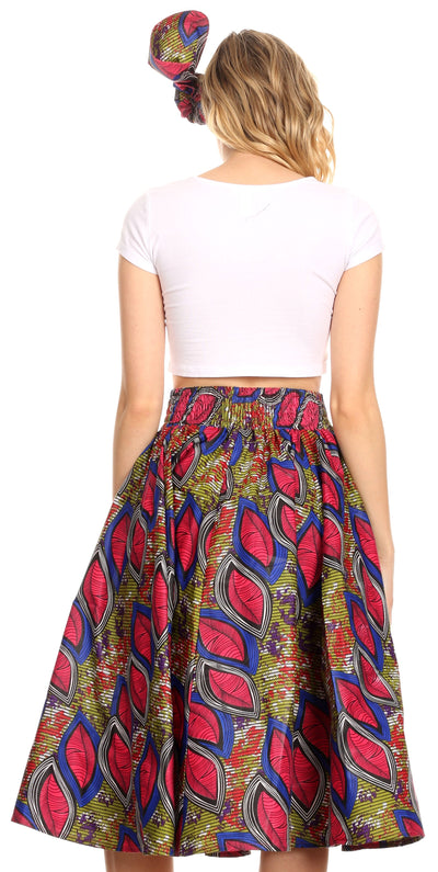 group-121-RoyalCranberryMulti (Sakkas Ama Women's Vintage Circle African Ankara Print Midi Skirt with Pockets)