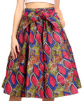 Sakkas Ama Women's Vintage Circle African Ankara Print Midi Skirt with Pockets#color_121-RoyalCranberryMulti