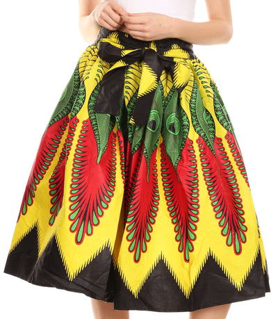 group-147-Multi (Sakkas Ama Women's Vintage Circle African Ankara Print Midi Skirt with Pockets)