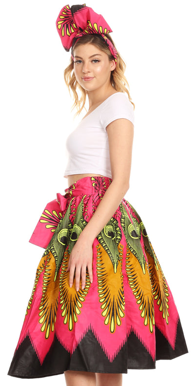 group-148-PinkMulti (Sakkas Ama Women's Vintage Circle African Ankara Print Midi Skirt with Pockets)