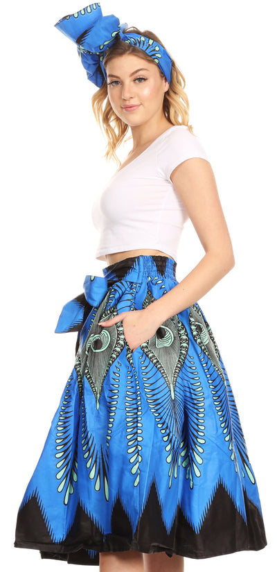 group-149-BlueTurquoise (Sakkas Ama Women's Vintage Circle African Ankara Print Midi Skirt with Pockets)