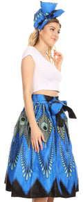 Sakkas Ama Women's Vintage Circle African Ankara Print Midi Skirt with Pockets#color_149-BlueTurquoise