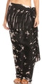 Sakkas Lygia Women's Summer Floral Print Sarong Swimsuit Cover up Beach Wrap Skirt#color_191SAR-Black
