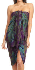 Sakkas Lygia Women's Summer Floral Print Sarong Swimsuit Cover up Beach Wrap Skirt#color_191SAR-Olive
