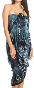 Sakkas Lygia Women's Summer Floral Print Sarong Swimsuit Cover up Beach Wrap Skirt#color_192SAR-OceanBlue