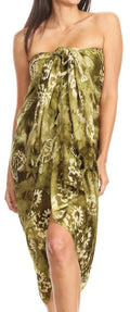 Sakkas Lygia Women's Summer Floral Print Sarong Swimsuit Cover up Beach Wrap Skirt#color_192SAR-Olive