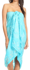 Sakkas Lygia Women's Summer Floral Print Sarong Swimsuit Cover up Beach Wrap Skirt#color_192SAR-Turquoise