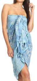 Sakkas Lygia Women's Summer Floral Print Sarong Swimsuit Cover up Beach Wrap Skirt#color_Blue