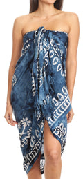 Sakkas Lygia Women's Summer Floral Print Sarong Swimsuit Cover up Beach Wrap Skirt#color_Navy