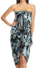 Sakkas Lygia Women's Summer Floral Print Sarong Swimsuit Cover up Beach Wrap Skirt#color_Ocean Blue