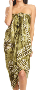 Sakkas Lygia Women's Summer Floral Print Sarong Swimsuit Cover up Beach Wrap Skirt#color_Olive
