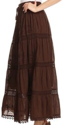 Sakkas Solid Embroidered Gypsy Bohemian Mid Length Cotton Skirt
