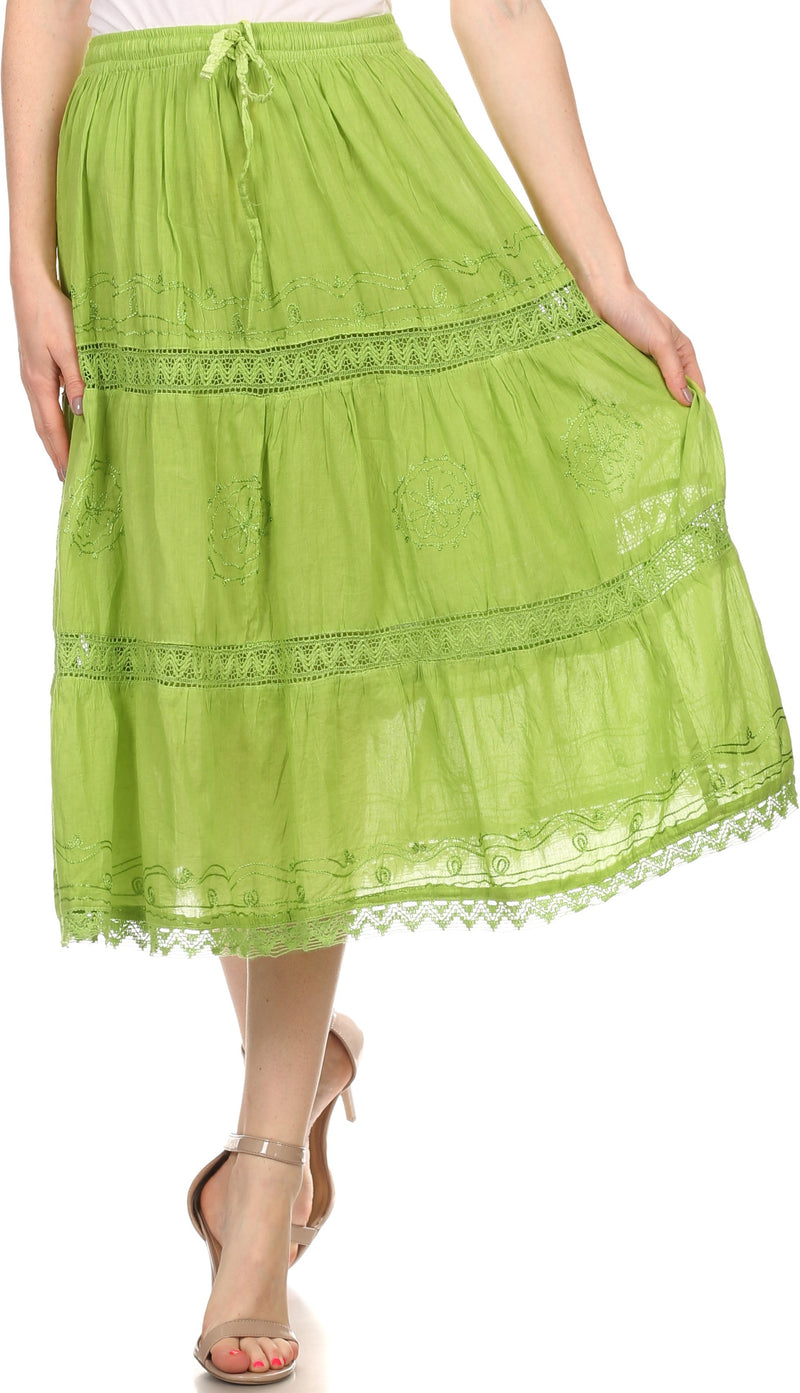 Women Eastic Waist Skirt 100/% Cotton Embroidered sequins Free Size Lime Green