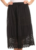 Sakkas Celeste Boho Lace Skirt with Elastic Waistband#color_Black