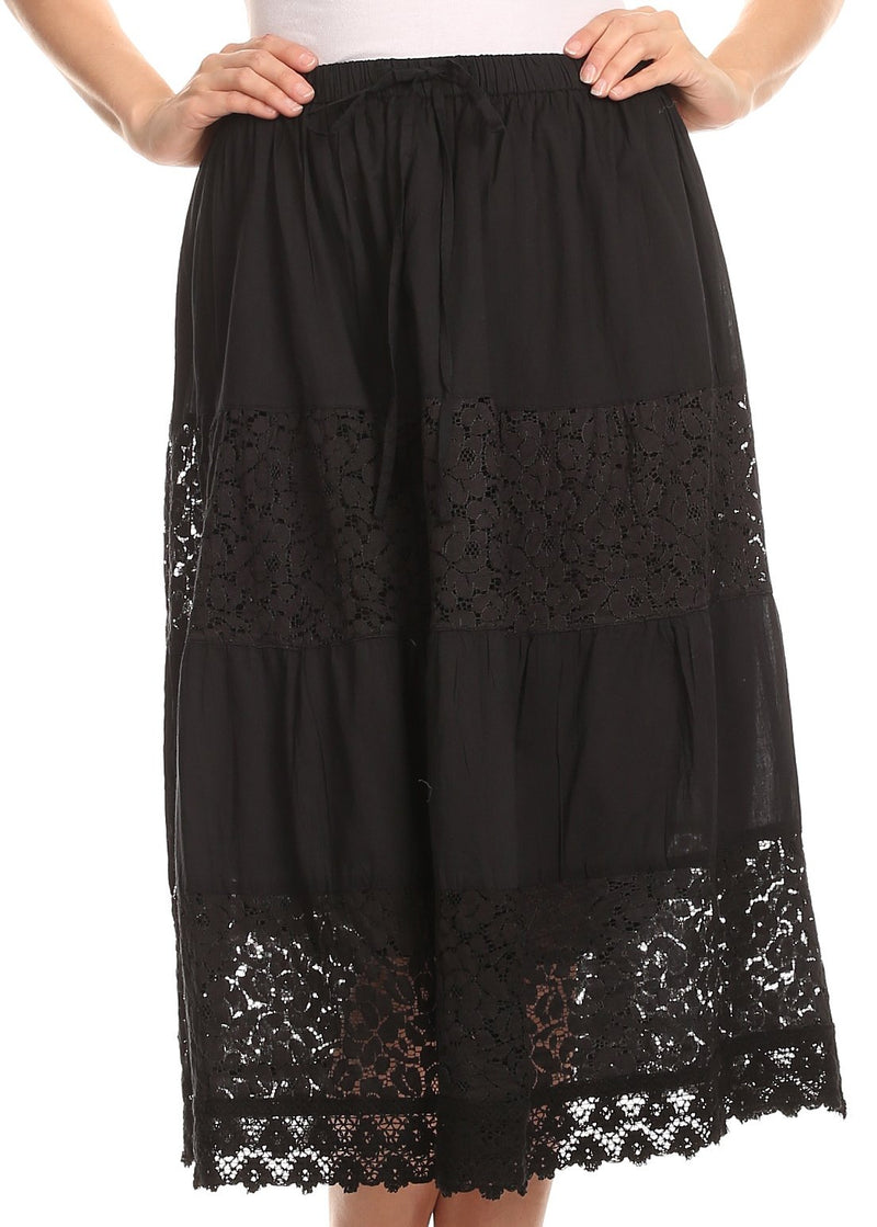 Sakkas Celeste Boho Lace Skirt with Elastic Waistband