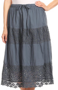 Sakkas Celeste Boho Lace Skirt with Elastic Waistband#color_Grey