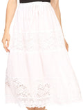 Sakkas Celeste Boho Lace Skirt with Elastic Waistband#color_White
