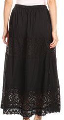 Sakkas Franchesca Boho Lace Skirt with Elastic Waistband