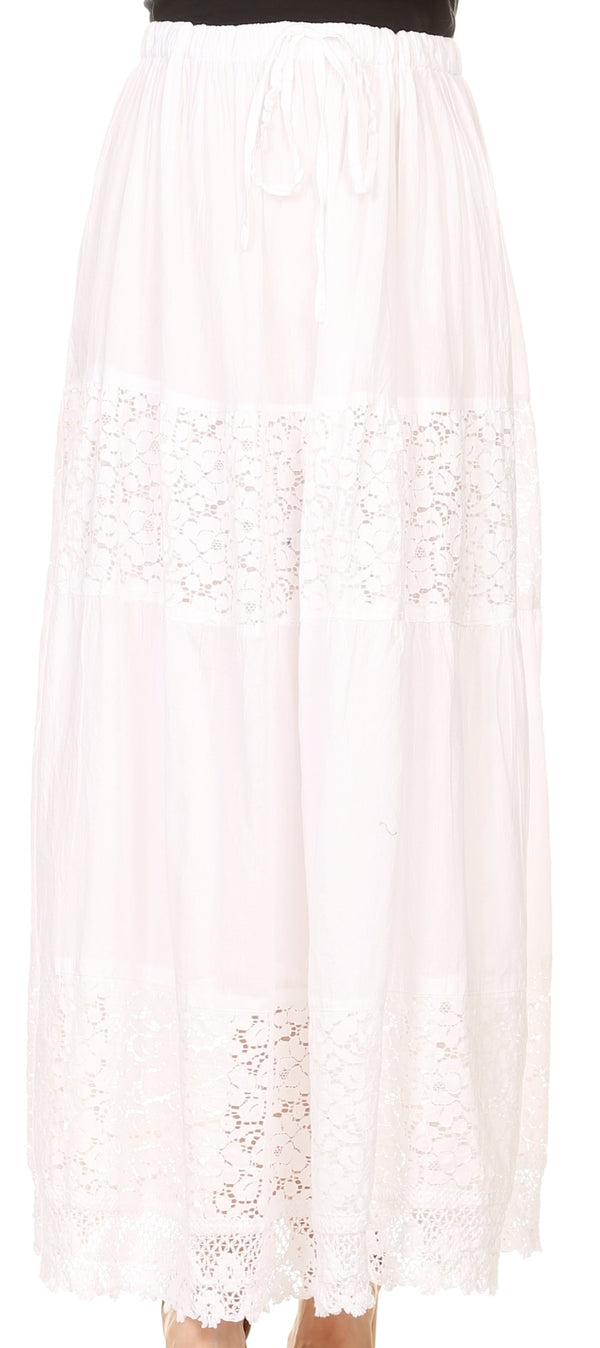 Sakkas Franchesca Boho Lace Skirt with Elastic Waistband#color_White