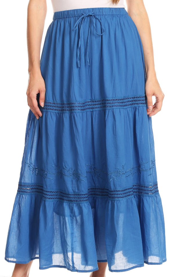 Sakkas Takara Maxi Broomstick Cascading  Peasant Skirt with Elastic Waist#color_Blue