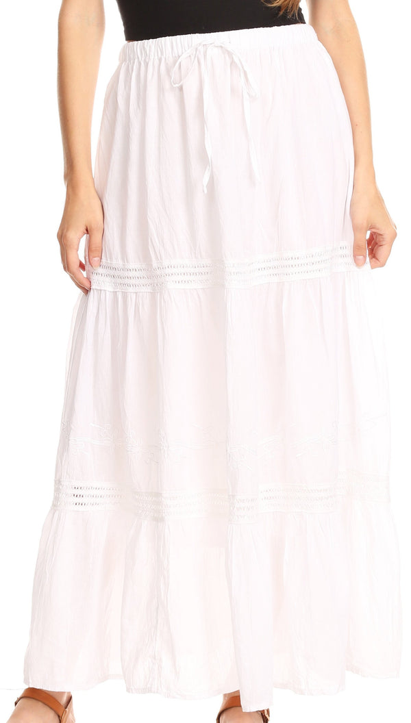 Sakkas Takara Maxi Broomstick Cascading  Peasant Skirt with Elastic Waist#color_White