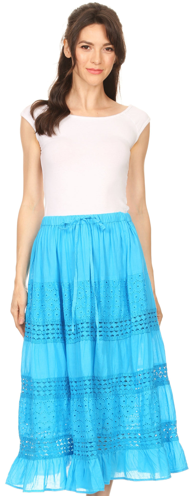 Sakkas Geneva Cotton Eyelet Skirt with Elastic Waistband
