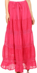 Sakkas Genesis Lightweight Cotton Eyelet Skirt with Elastic Waistband#color_Fuschia