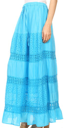 Sakkas Genesis Lightweight Cotton Eyelet Skirt with Elastic Waistband