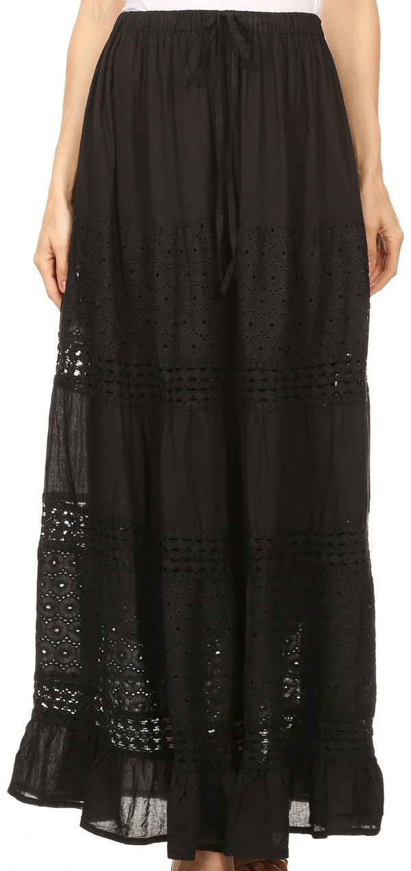 Sakkas Genesis Lightweight Cotton Eyelet Skirt with Elastic Waistband#color_Black