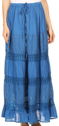 Sakkas Genesis Lightweight Cotton Eyelet Skirt with Elastic Waistband#color_Blue