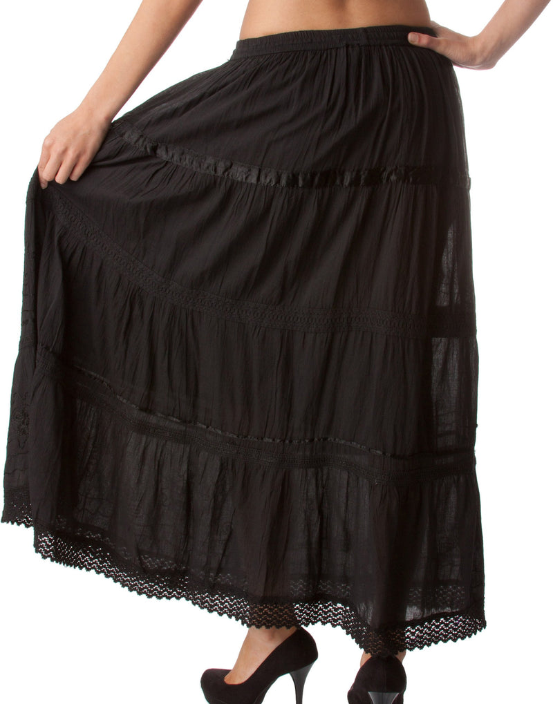 Sakkas Solid Embroidered Gypsy / Bohemian Full / Maxi / Long Cotton Skirt