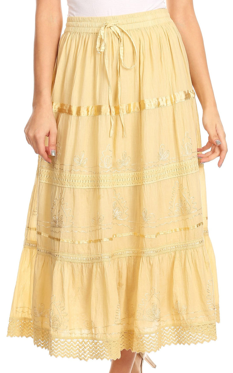 Sakkas Solid Embroidered Gypsy / Bohemian Mid Length Cotton Skirt