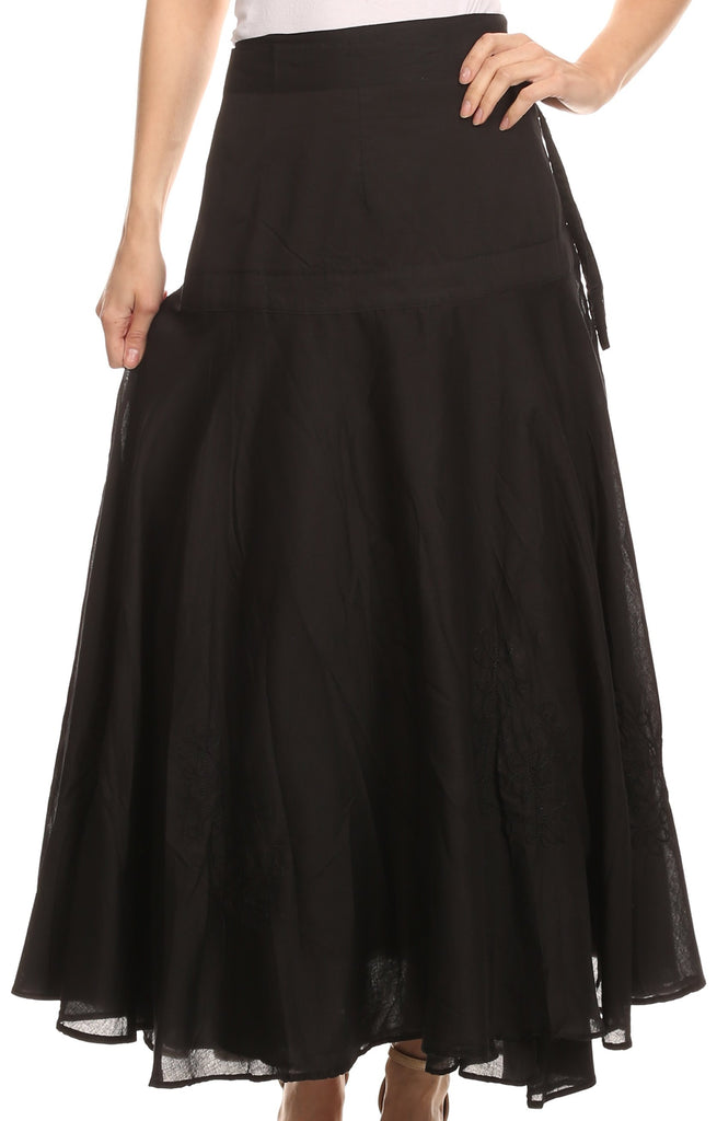 Sakkas Harriet Long Tall Adjustable Embroidered Wrap Around Skirt With Waist Tie