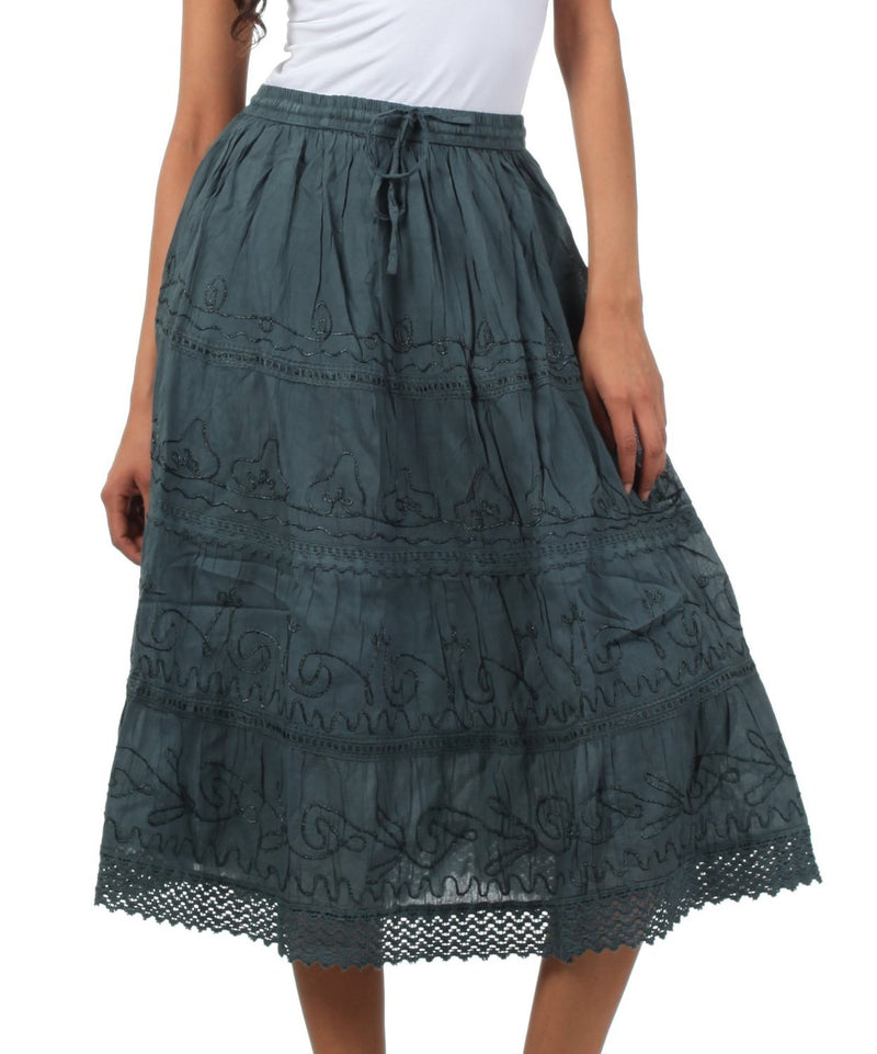 Sakkas Solid Embroidered Crochet Lace Trim Gypsy Bohemian Mid Length Cotton Skirt