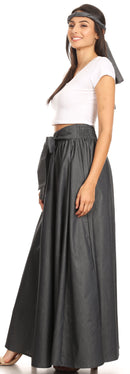 Sakkas Adisa Long Maxi Chambray Boho Casual Skirt with Elastic Waist