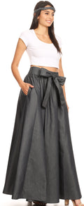 Sakkas Adisa Long Maxi Chambray Boho Casual Skirt with Elastic Waist#color_Black