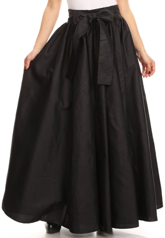 Sakkas Sauda Maxi Long Full Circle Wax Cotton Skirt Casual Gorgeous Basic Boho