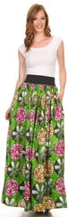 Sakkas Fawna Patterned Long Wax Print Adjustable Waist Skirt With Pockets